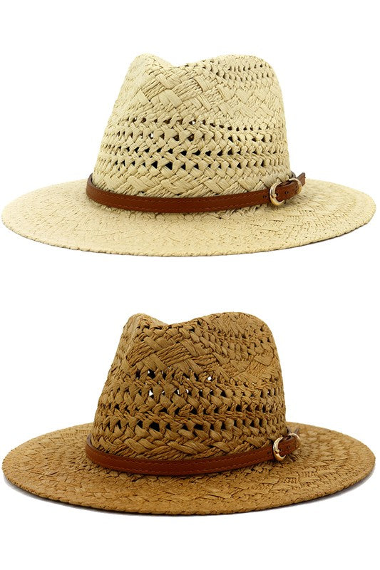 brown banded straw fedora