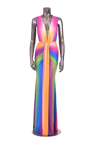 Ombre rainbow matte jersey maxi dress