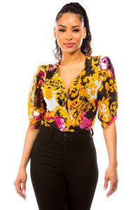 mesh baroque floral short puff sleeve bodysuit