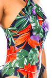 tropical print sleeveless bodysuit