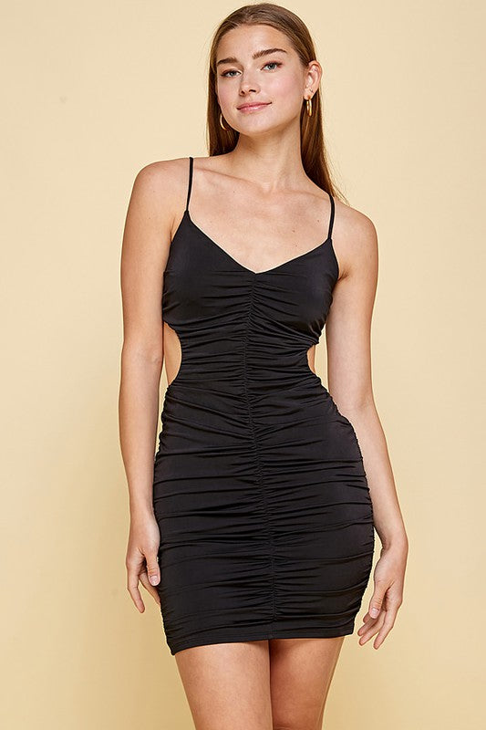 Cut Out Ruched Bodycon Dress