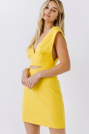 v-neck peekaboo sleeveless dress