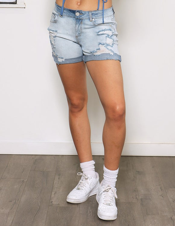 mid-rise distressed boyfriend cuffed jeans shorts
