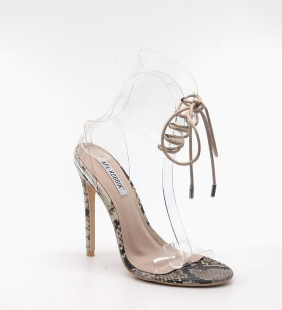 clear lace up snakeskin high heel sandals
