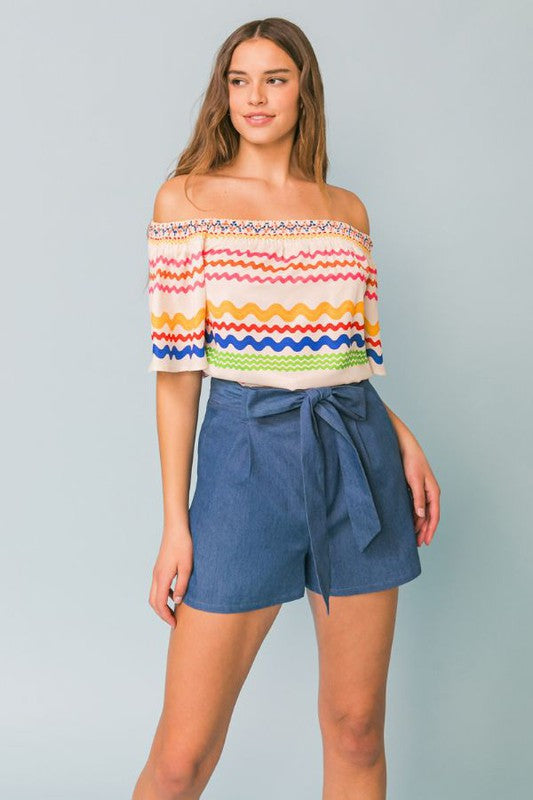 off the shoulder short sleeve printed woven top