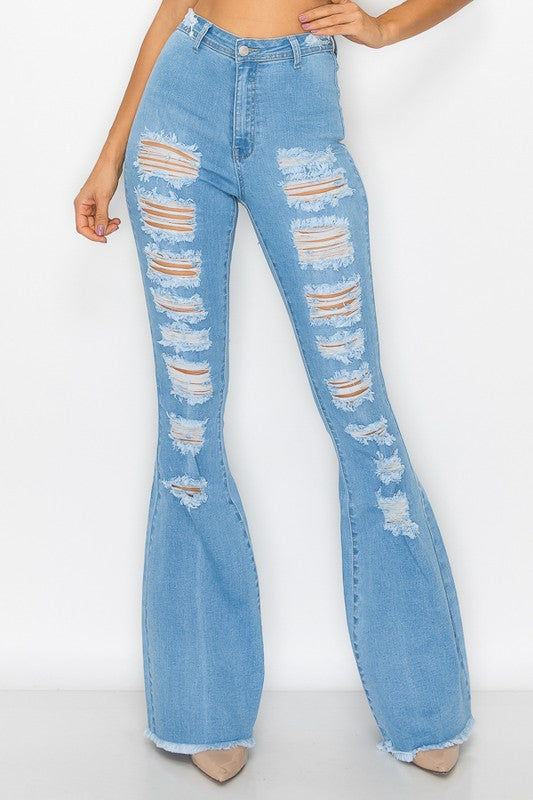 High waist stretch distressed bell bottom jeans