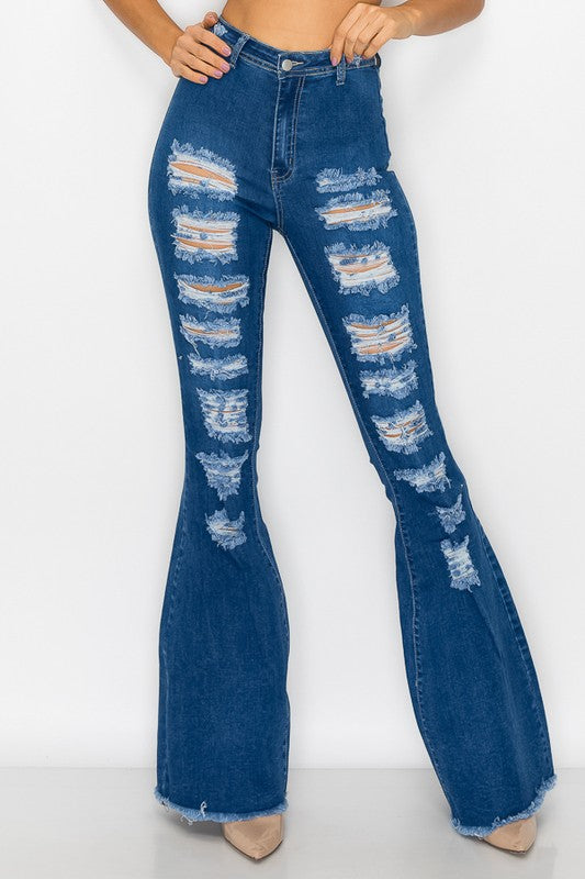High waist distressed stretch bell bottom jeans