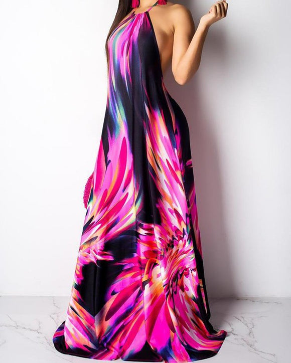 large abstract floral print open back halter maxi dress