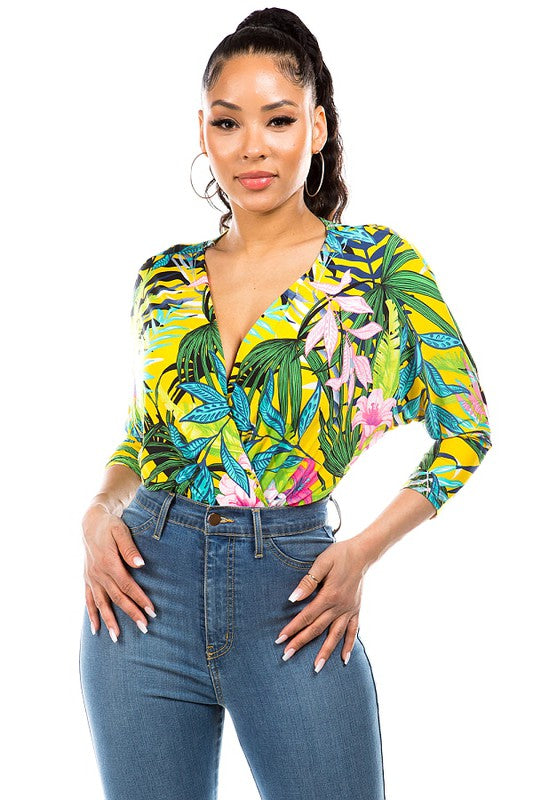 tropical surplice 3/4 sleeve bodysuit