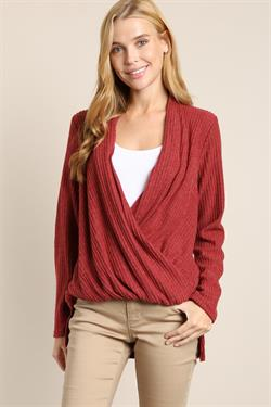 Crossed Front Ribbed Knit Top