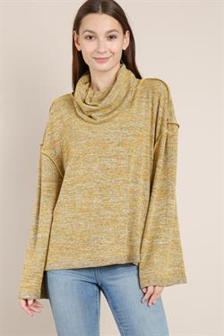 Bell sleeve cowl neck top