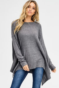 2-Tone Brushed Long Sleeve Sharkbite Top - by Cherish USA - available at rkcollections.myshopify.com - Charocal / LARGE - Tops-Brushed