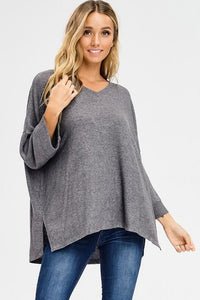 2 Tone brushed wide sleeve v neck top - by Cherish USA - available at rkcollections.myshopify.com - Heather Grey / LARGE - Tops-Brushed