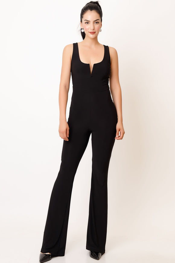 Notched scoop neck flared leg bodysuit