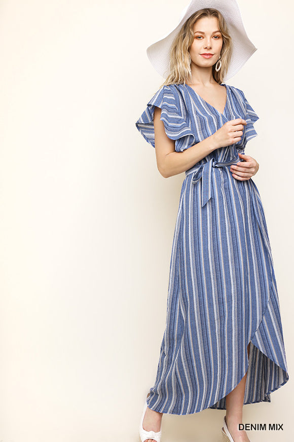 stripe short ruffle sleeve wrap maxi dress