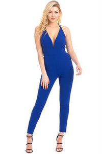 Sleeveless v-back skinny leg jumpsuit