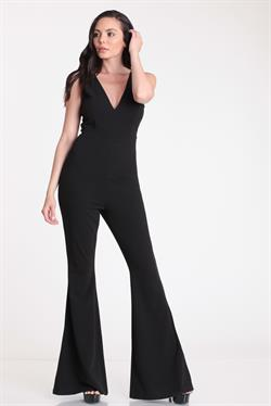 double v bell bottom jumpsuit