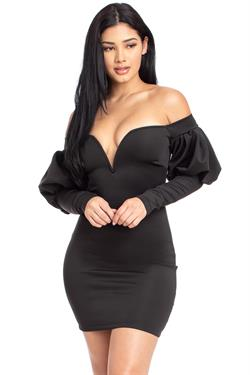 off the shoulder puff long sleeve mini dress