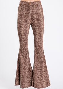 Flared Snakeskin High Waist Pants