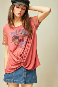 3044-R-S-Entro-freedom mesh sleeve graphic tee-RK Collections Boutique