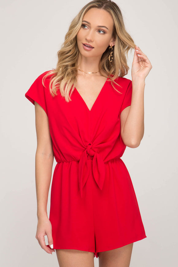 short sleeve romper with tie front