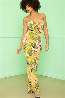 cutout tie front tropical print jumpsuit