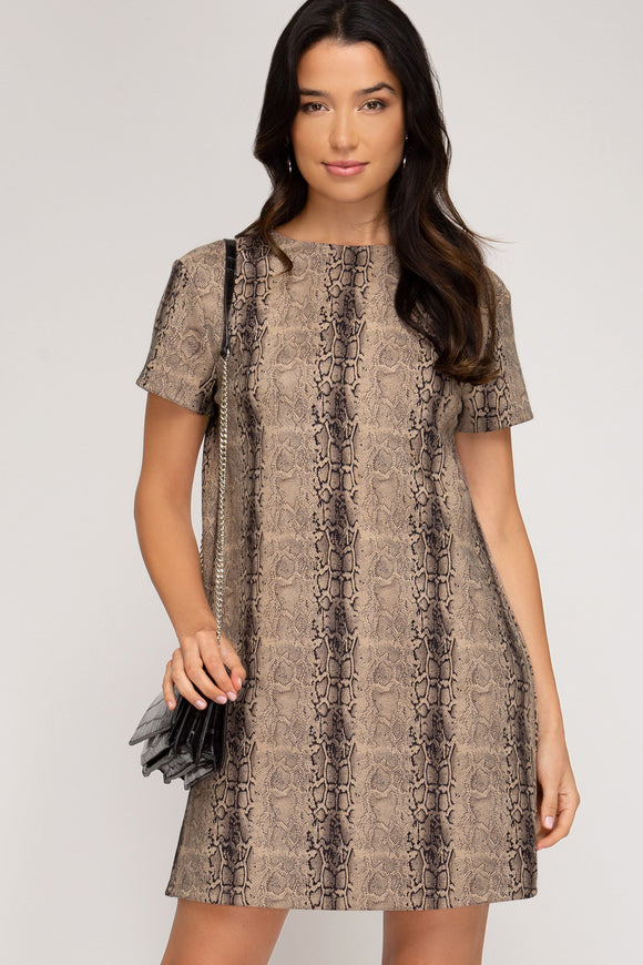 faux suede snakeskin short sleeve dress