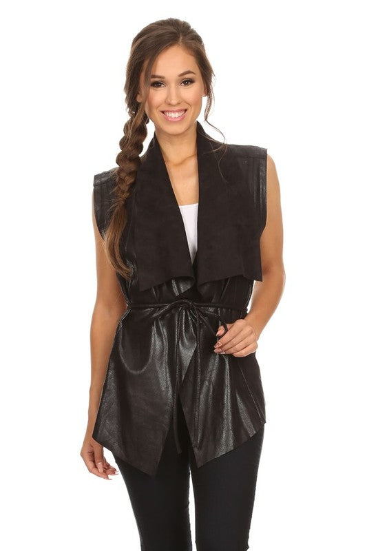 faux leather vest with waist tie - by BLVD - available at rkcollections.myshopify.com -  - Tops-Vest