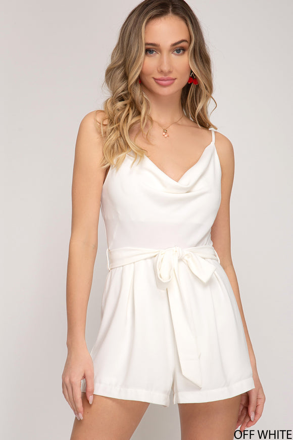 Cowl neck romper with sash belt