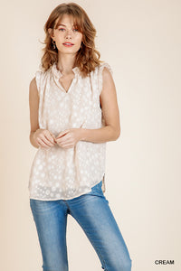 burnout dot pattern sleeveless blouse