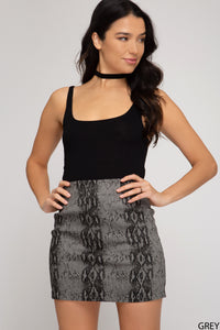 Snakeskin twill mini skirt