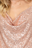 Sequin cowl neck cami top