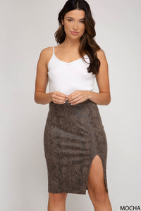 Snake faux suede pencil skirt