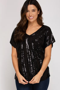 Sequin v-neck short sleeve top