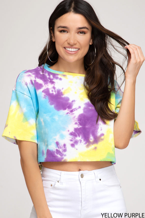 french terry short sleeve tie dye crop top