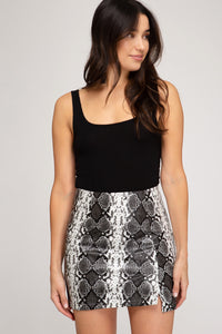 Snakeskin faux leather mini skirt