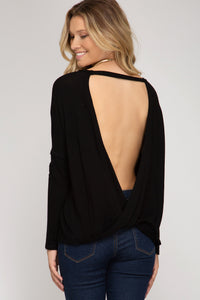 long sleeve open back boxy top