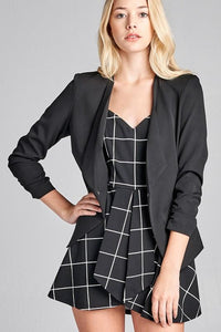 3/4 Shirring Sleeve Open Front Woven Jacket - by Active Basic - available at rkcollections.myshopify.com -  - Tops-Jacket