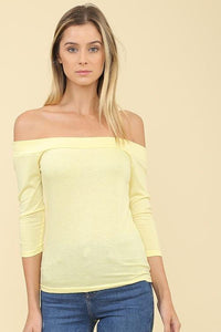3/4 sleeve off the shoulder t-shirt - by The Hanger - available at rkcollections.myshopify.com -  - Tops-Off The Shoulder
