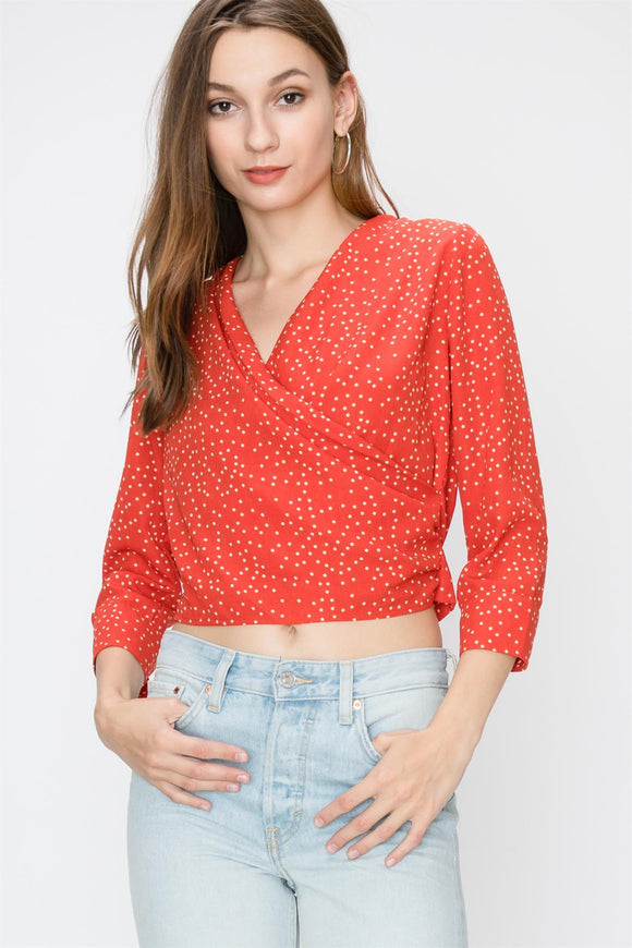 3/4 SLEEVE POLKA DOT SURPLICE BLOUSE WITH TIE BACK DETAIL - by Favlux - available at rkcollections.myshopify.com -  - Tops