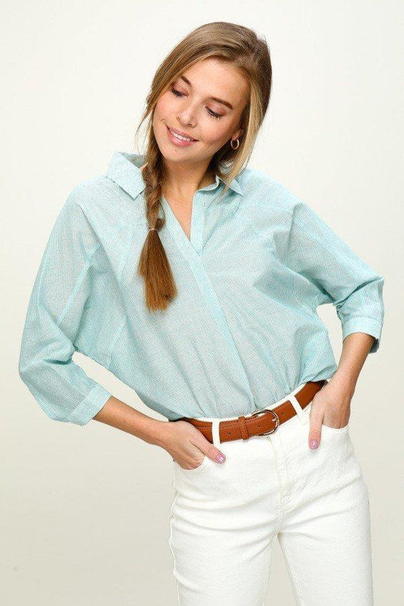 3/4 sleeve stripe blouse - by Coverstitch - available at rkcollections.myshopify.com -  - Tops