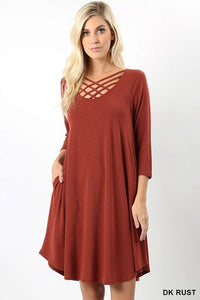 3/4 sleeve triple criss cross dress - by Zenana - available at rkcollections.myshopify.com -  - Dress