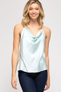 Cowl neck satin cami with racerback