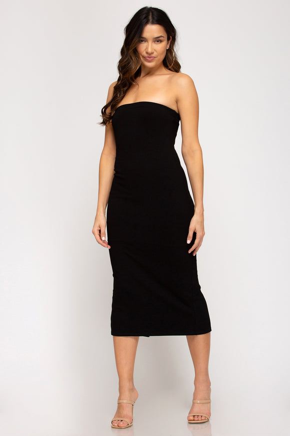 Strapless knit ribbed bodycon midi dress