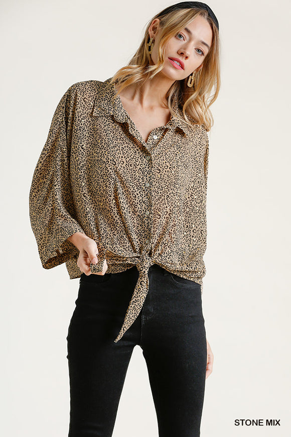 Front Tie Sheer Leopard Button Down Gold Flakes