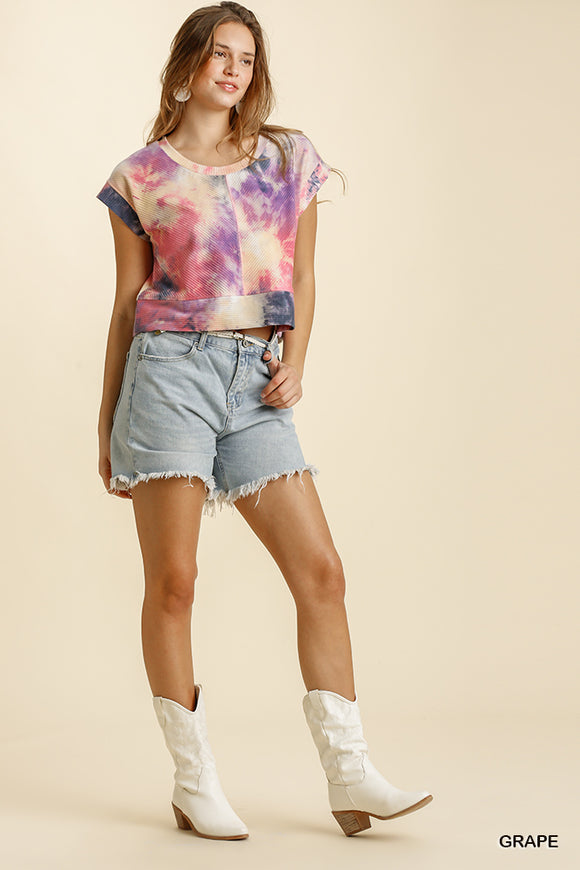 tie dye round neck crop top