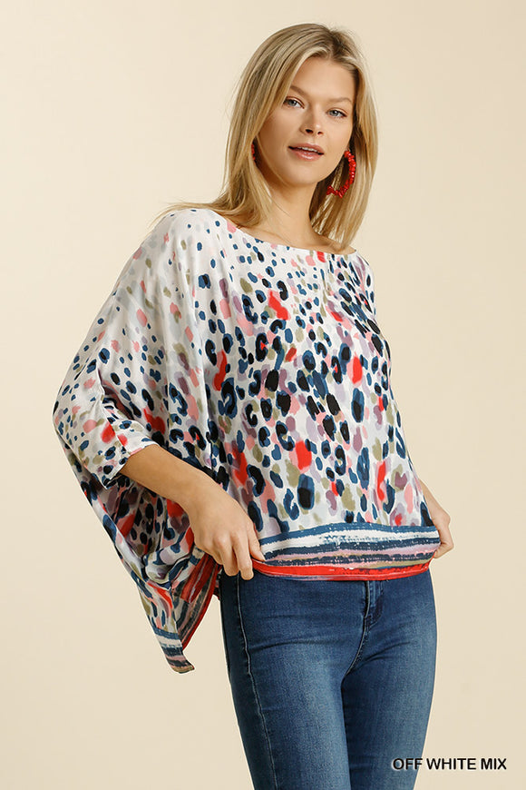 Printed Batwing Sleeve Poncho Top