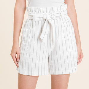 Cotton stripe high waist shorts