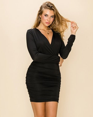 long sleeve matte jersey dress