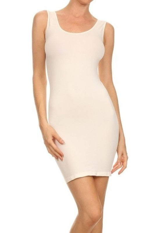 seamless wide strap slip tank dress